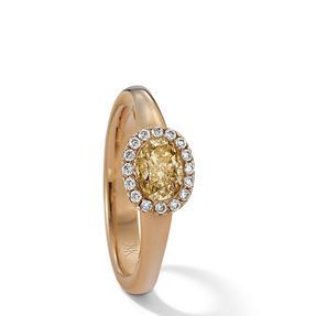 Ring in 750 Gelbgold mit Fancy Intense Yellow und weißen Diamanten. Erhältlich in verschiedenen Größen.