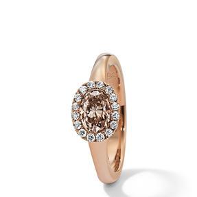 Ring in 750 Roségold mit Orange Brown und weißen Diamanten.  Erhältlich in verschiedenen Größen.