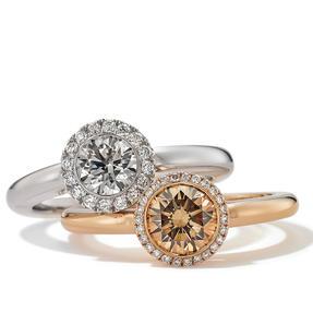 Ringe in 750 Weißgold und Roségold mit weißen und Orange Brown Diamanten. Erhältlich in verschiedenen Größen.