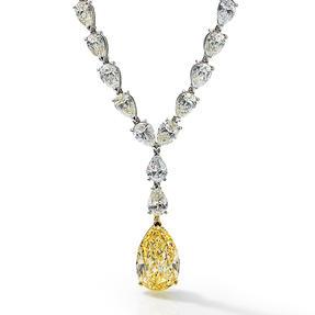 Collier in 950 Platin mit Fancy Yellow und weißen Diamanten.