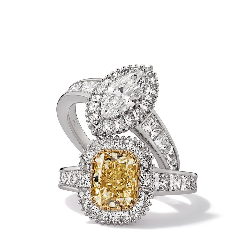Ringe in 750 Weißgold mit Fancy Yellow und weißen Diamanten. Erhältlich in verschiedenen Größen.