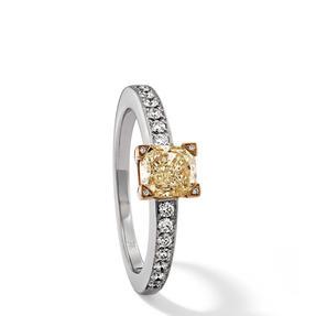 Ring in 750 Weißgold und Gelbgold mit Fancy Yellow und weißen Diamanten. Erhältlich in verschiedenen Größen.