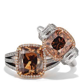Ringe in 750 Weißgold und Roségold mit Orange Brown und weißen Diamanten. Erhältlich in verschiedenen Größen.