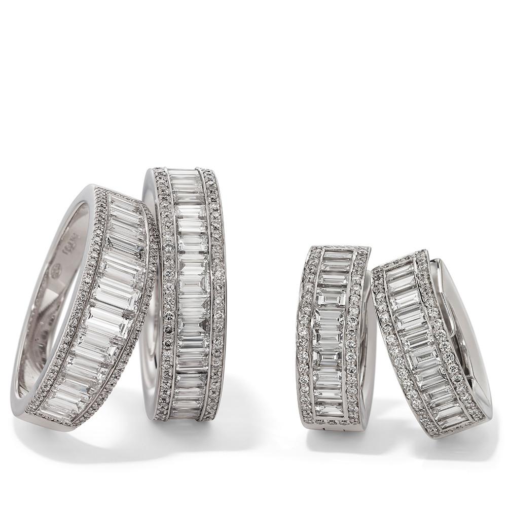 Ringe und Ohrringe in 750 Weißgold mit weißen Diamanten. Erhältlich in verschiedenen Größen.