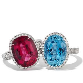 Ringe in 750 Weißgold mit pink Turmalin / Aquamarin und weißen Diamanten. Erhältlich in verschiedenen Größen.