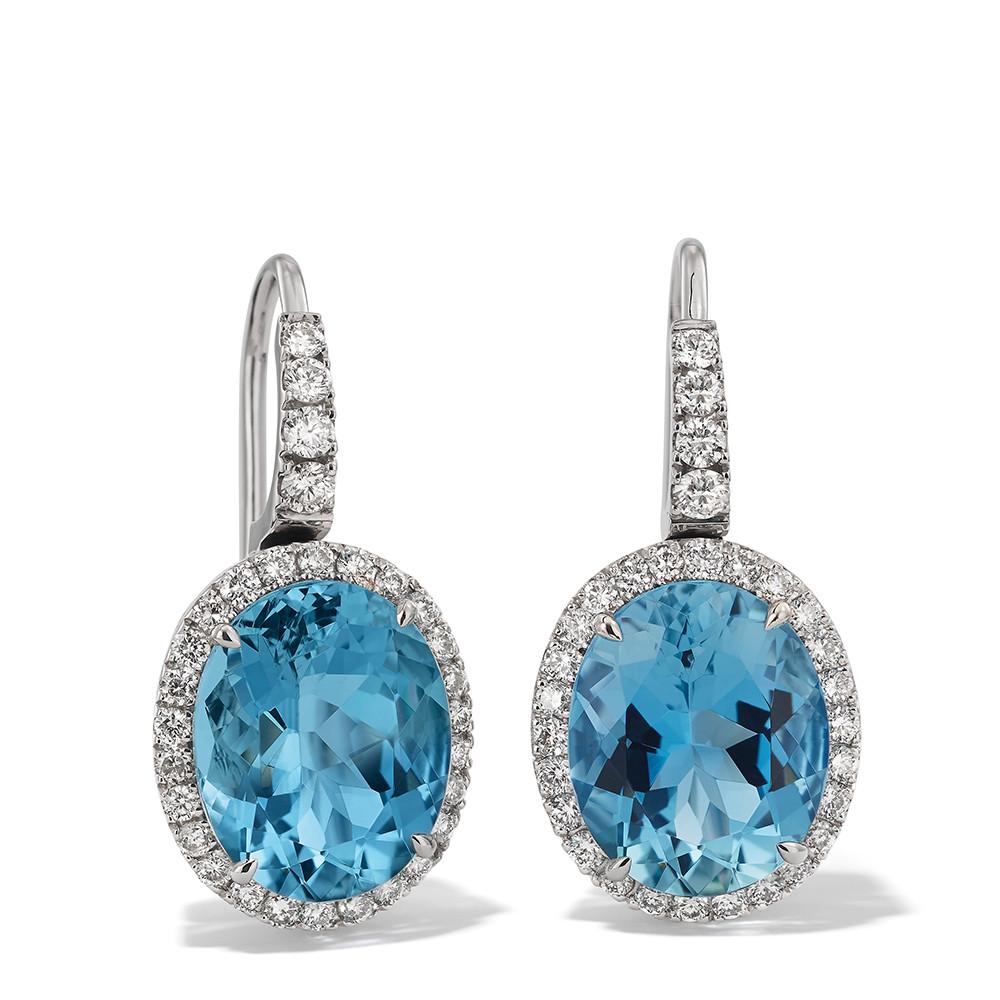 Ohrringe in 750 Weißgold mit Aquamarine und weißen Diamanten.