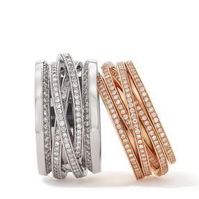 Ringe in 750 Weißgold und Roségold mit weißen Diamanten. Erhältlich in verschiedenen Größen.