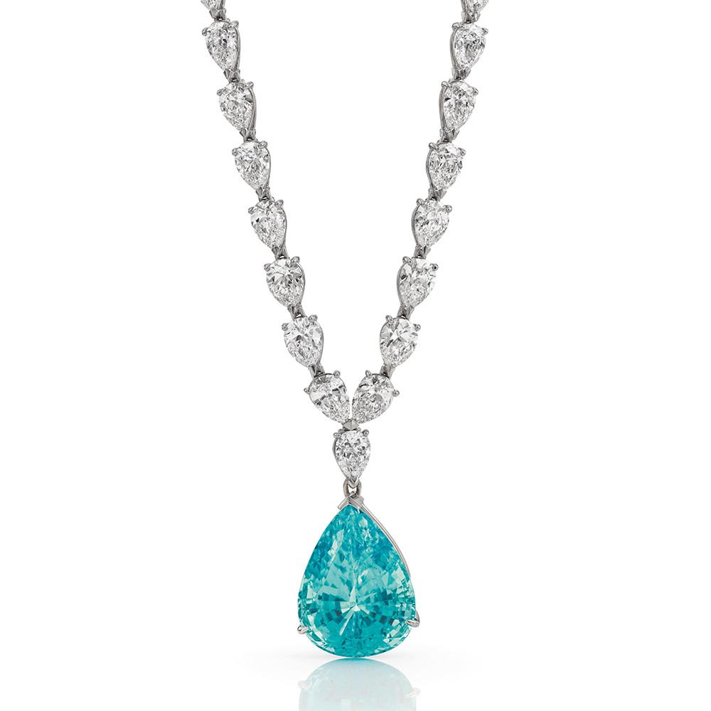 Collier in 950 Platin mit weißen Diamanten und einem außergewöhnlichen Paraiba Turmalin.